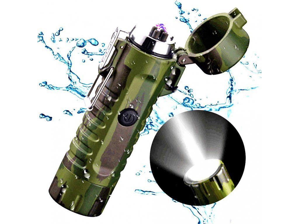 maskačový plazmový zapaľovač sled svetlom vode odolný USB nabíjanie
