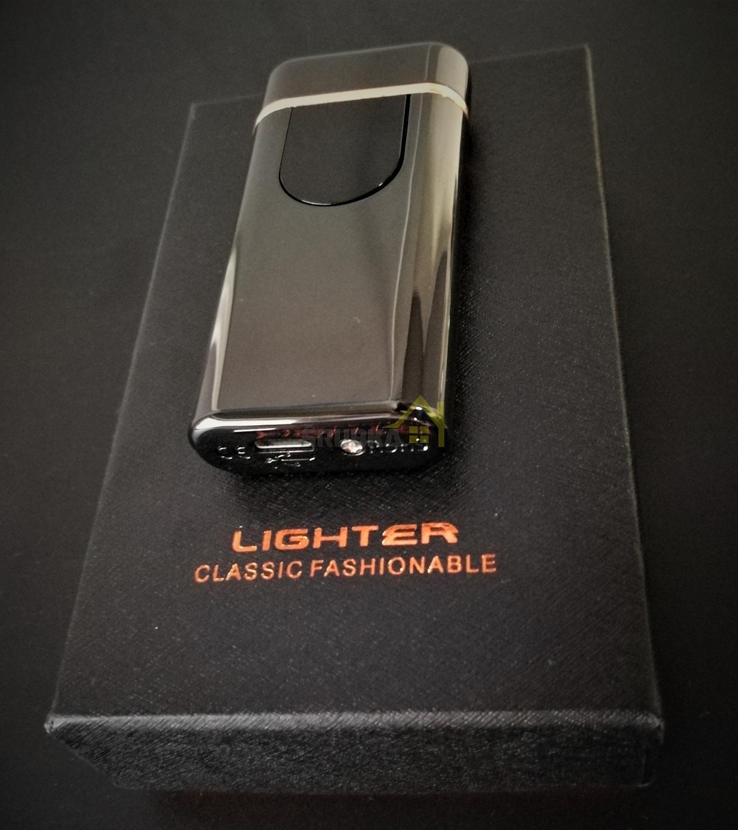 plazmový zapaľovač na cigarety čierny USB nabíjanie dotykový balenie