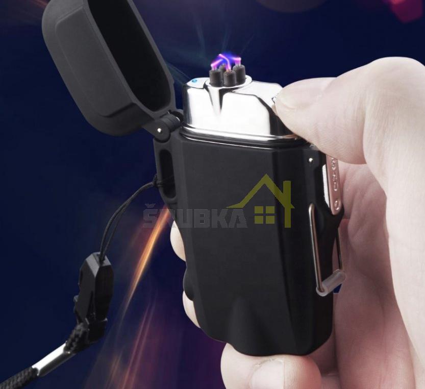 plazmovy-zapaľovac-vodeodolny-led-baterka-cierny-detail